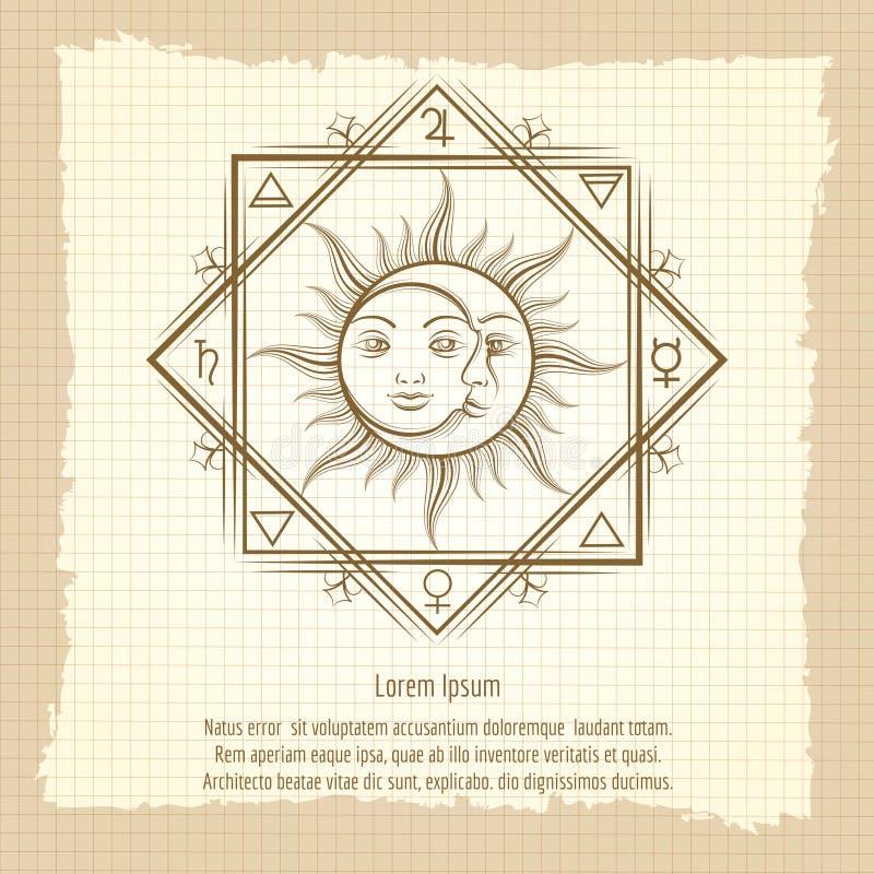 Sun et lune sur le fond de vintage illustration stock
