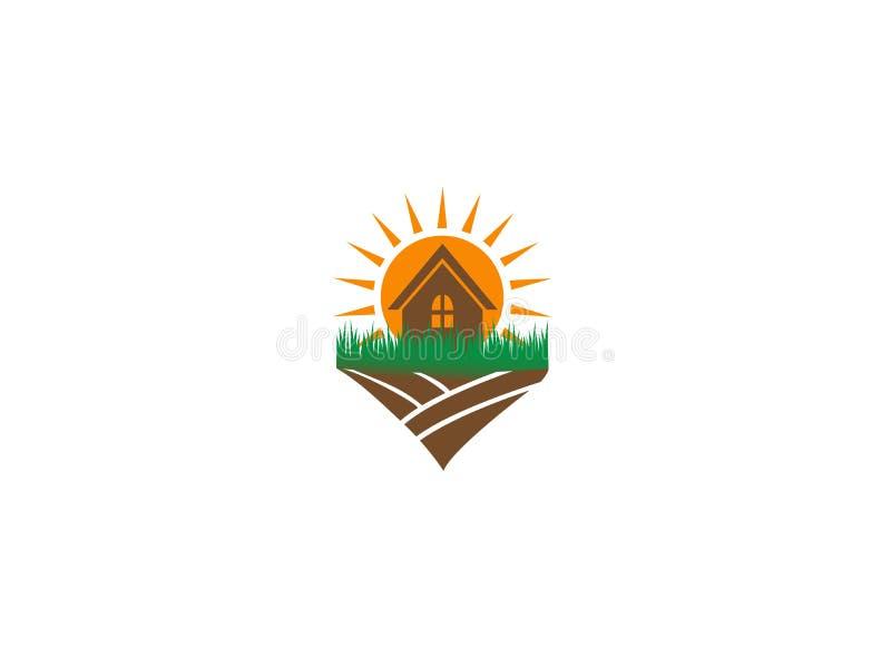 Sun et maison dans la ferme pour l'illustration de conception de logo illustration stock