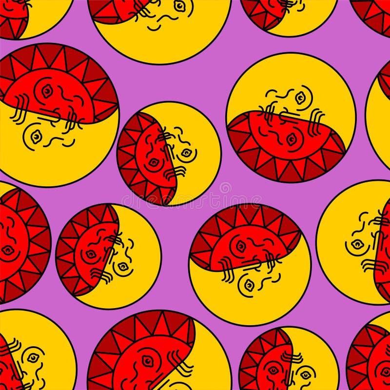 Sun et modèle folklorique de visage de lune sans couture Vecteur païen de fond illustration de vecteur