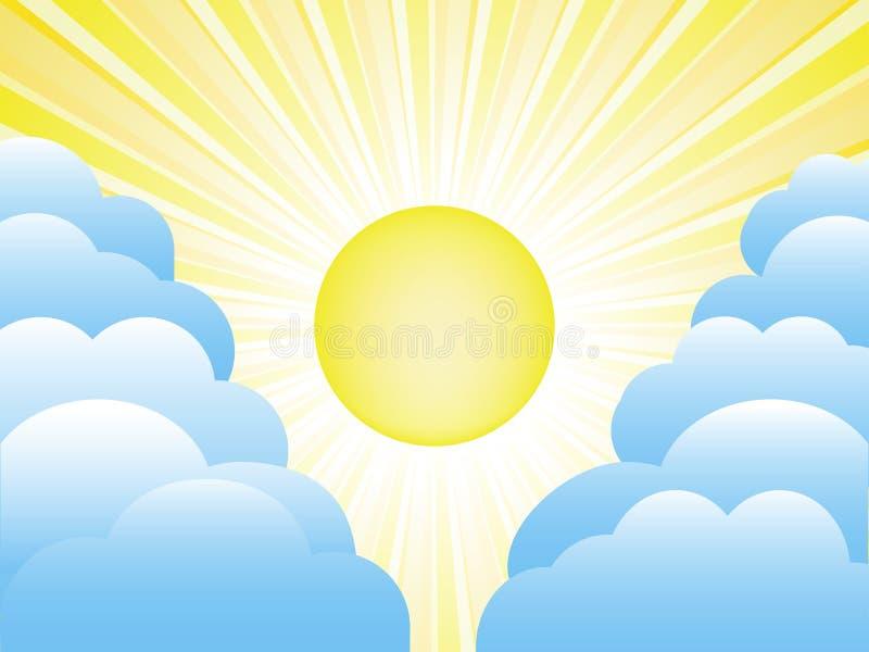 Sun et nuages illustration de vecteur