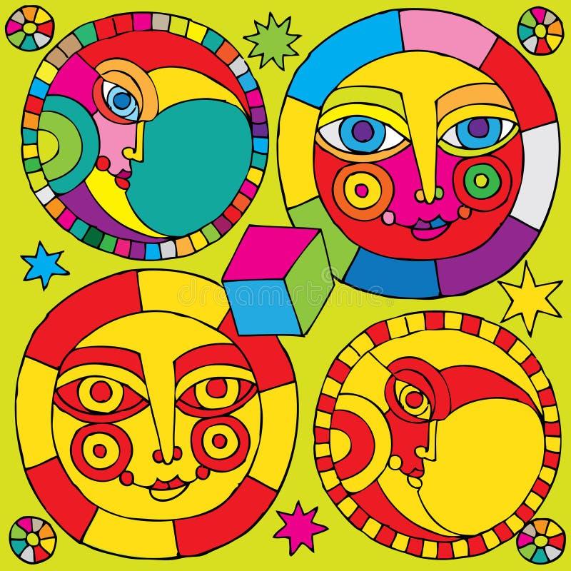 Sun et pictogramme de lune illustration libre de droits