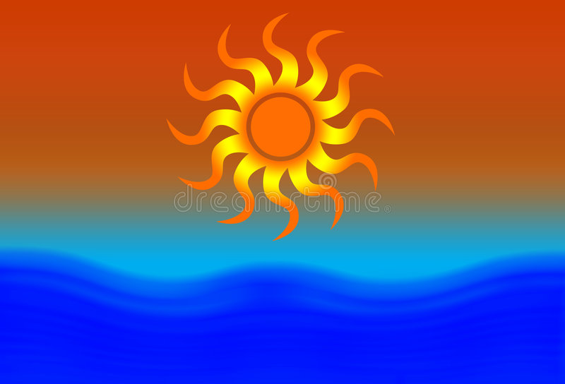 Sun et plage illustration stock