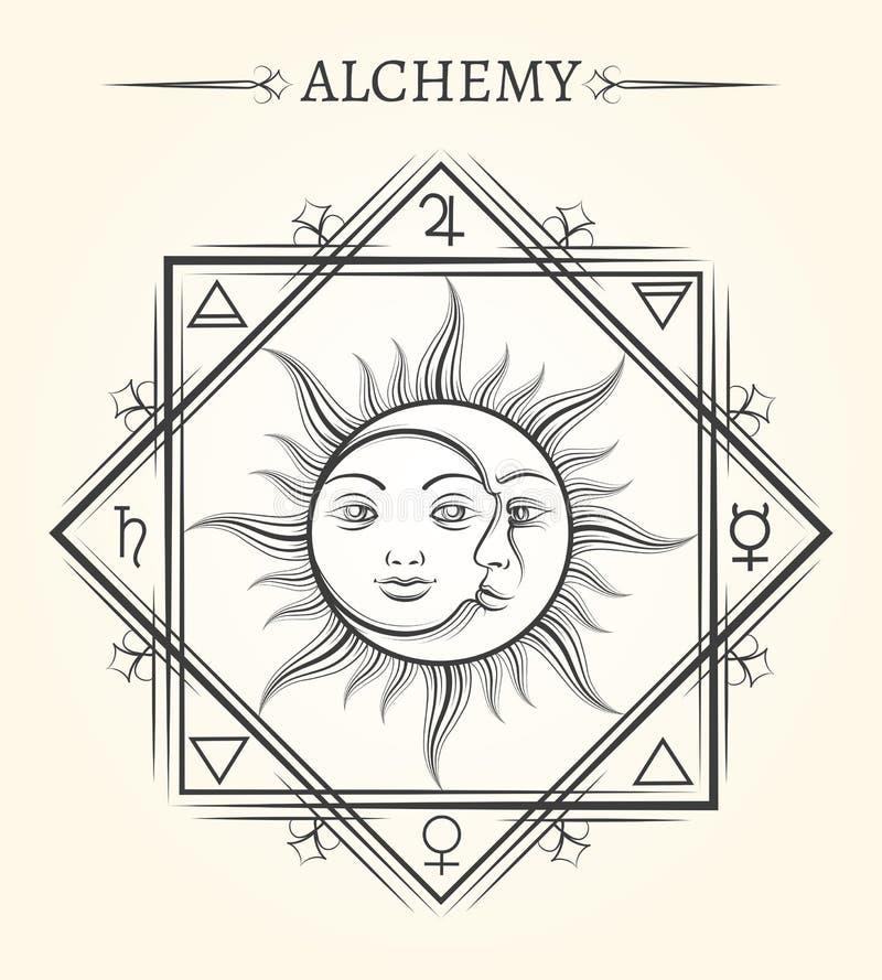 Sun et symbole mystique d'astrologie de lune illustration libre de droits