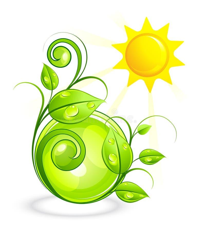 Sun et végétation verte illustration de vecteur