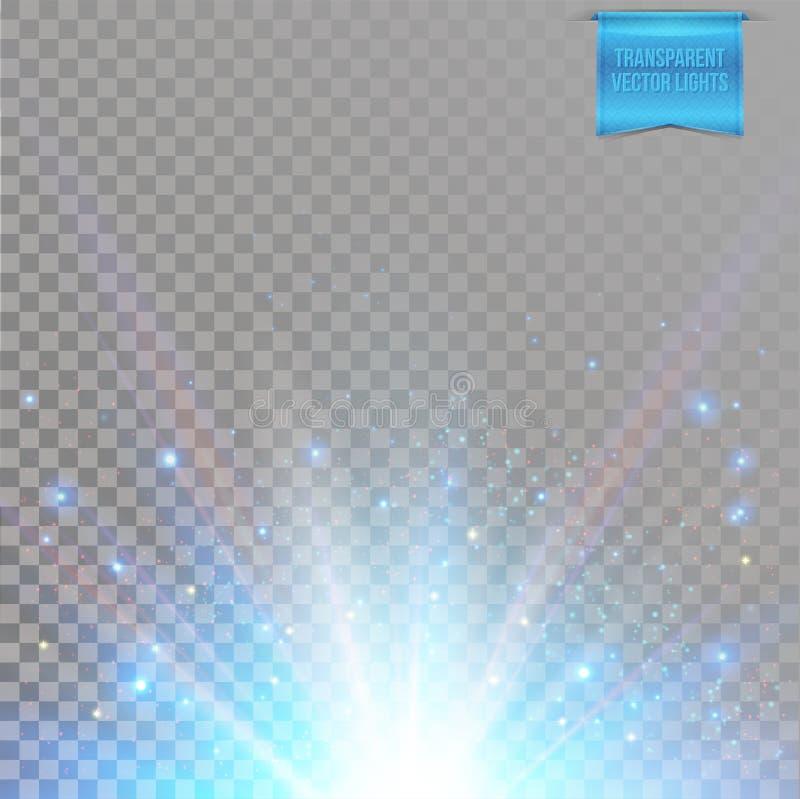 Sun, explosión de la estrella con la llamarada, rayos de chispas ligeras y coloreadas en fondo transparente libre illustration