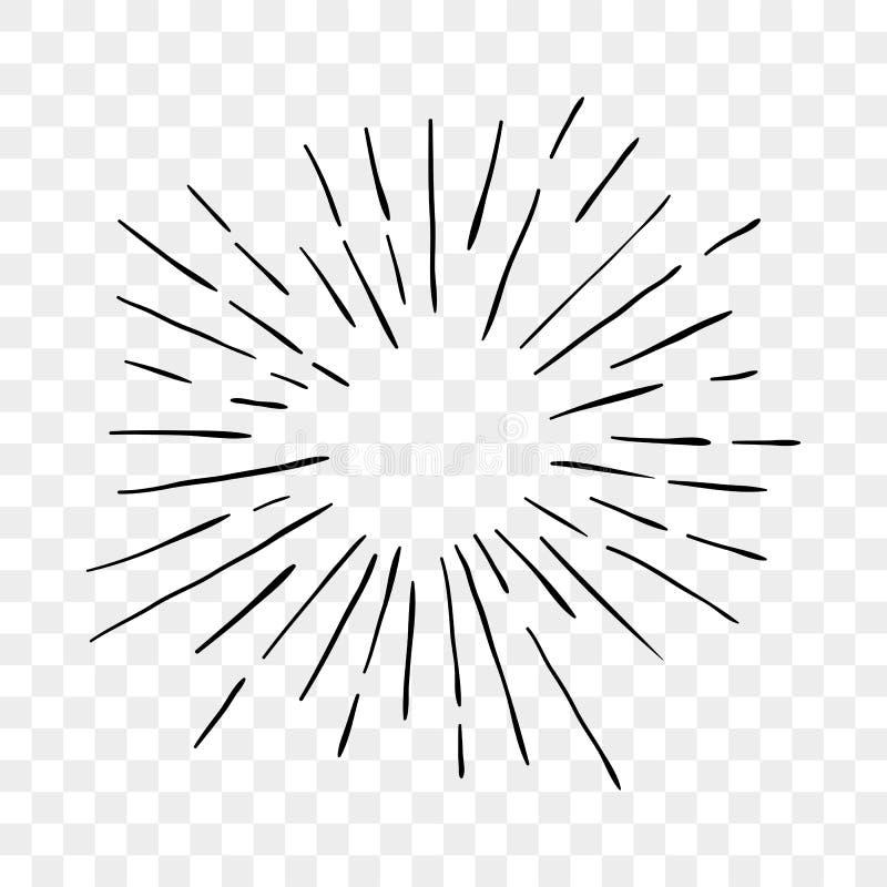 Sun-Explosionssonnenschein strahlt Linien Vektorikone aus stock abbildung