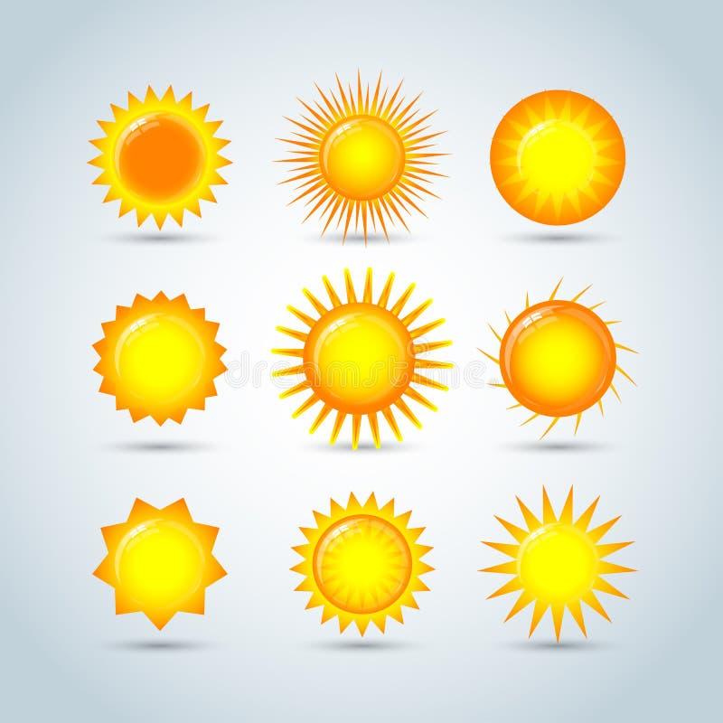 Sun-Explosionsstern-Logoikonen Sun-Stern, Sommer, Natur, Himmel, Sommer Sonnenscheinsonnenlogo Coror-Knöpfe eingestellt Sun-Logo  stock abbildung