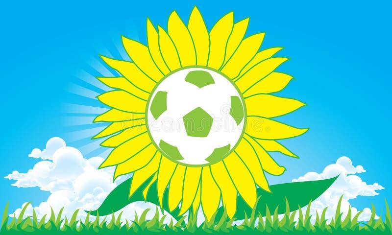 sun för blommafotbollfotboll vektor illustrationer