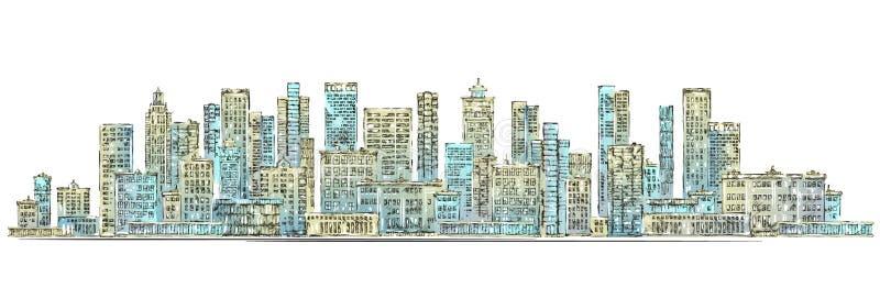 sun för horisont för strålar för bakgrundsstadsdesign stads- pinky tecknad hand vektor illustrationer