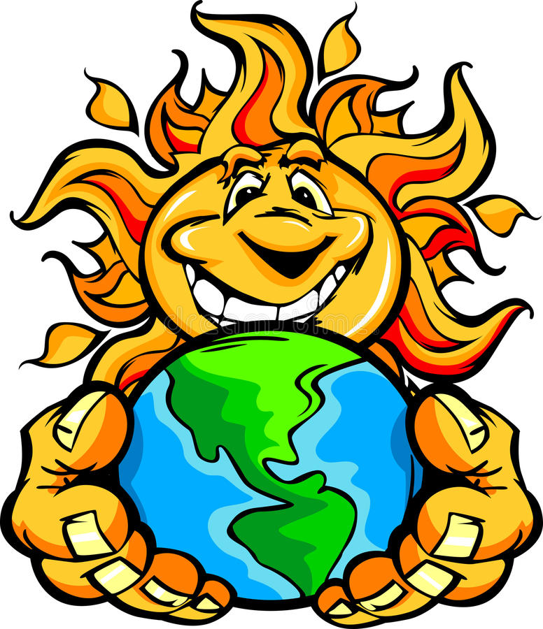 sun för lycklig holding för tecknad filmjordenergi sol- royaltyfri illustrationer
