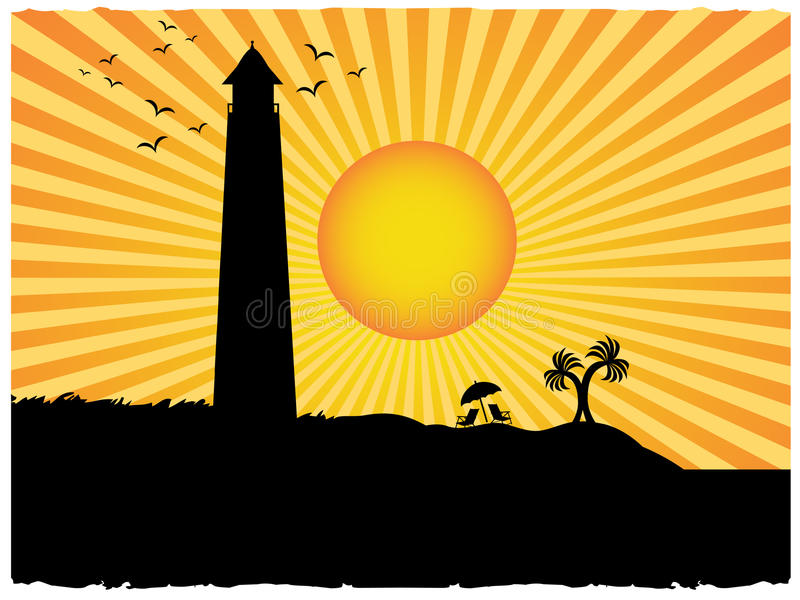 sun för silhouette för stråle för strandgrungefyr stock illustrationer