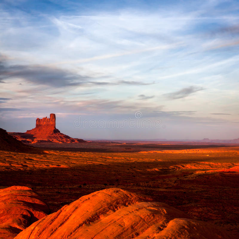 Sun Fading Over Monument Valley. Utah royalty free stock photo