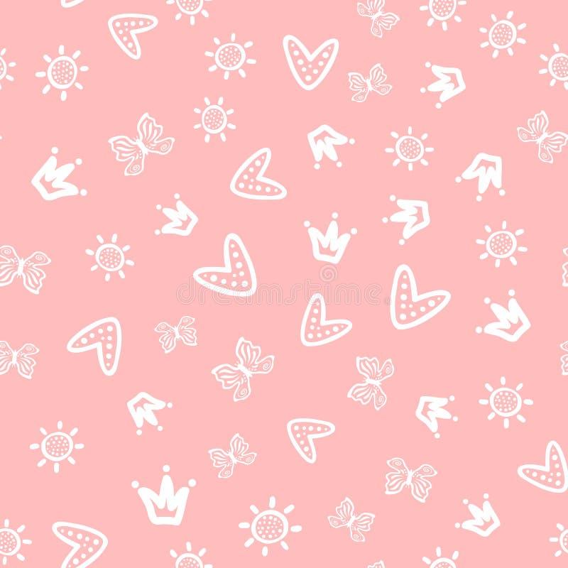 Sun, farfalle, cuori e corone estratti a mano Modello senza cuciture girly sveglio royalty illustrazione gratis