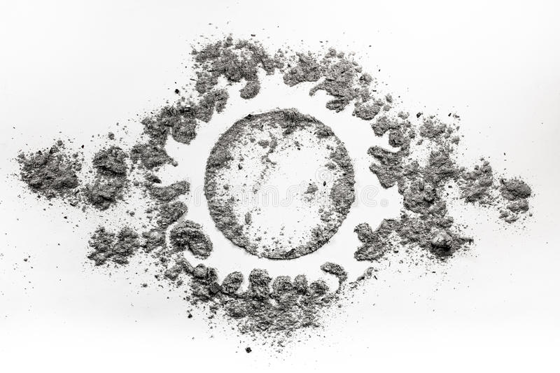 Sun fire light symbol drawing made in ash, dust. As a dead star concept stock photo