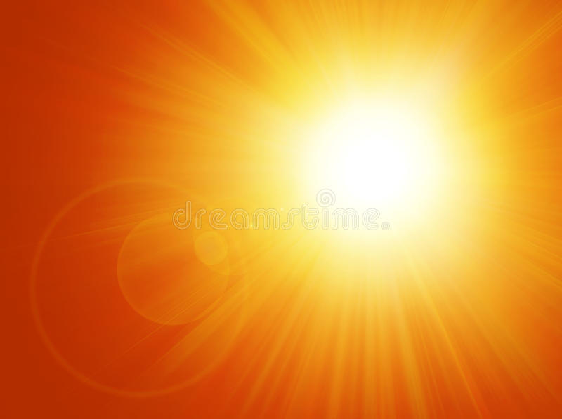 Sun and Flare Background. Computer illustration of sun rays and flare