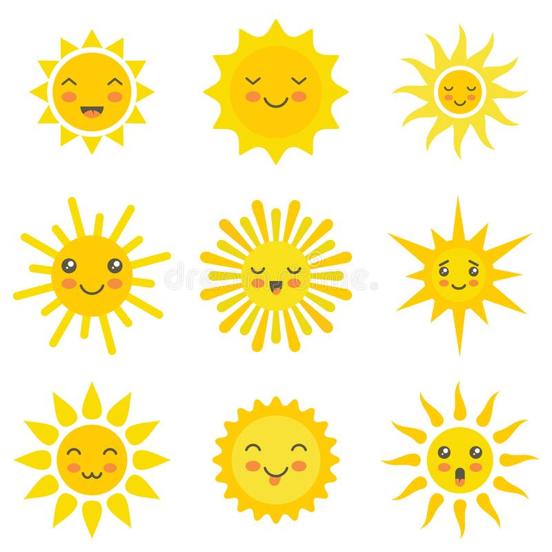 Sun flat emoji icons set. Sun flat emoji. Funny summer sunshine, sun baby happy morning yellow kawaii emoticons. Cartoon sunny kawaii smiling faces vector icons royalty free illustration