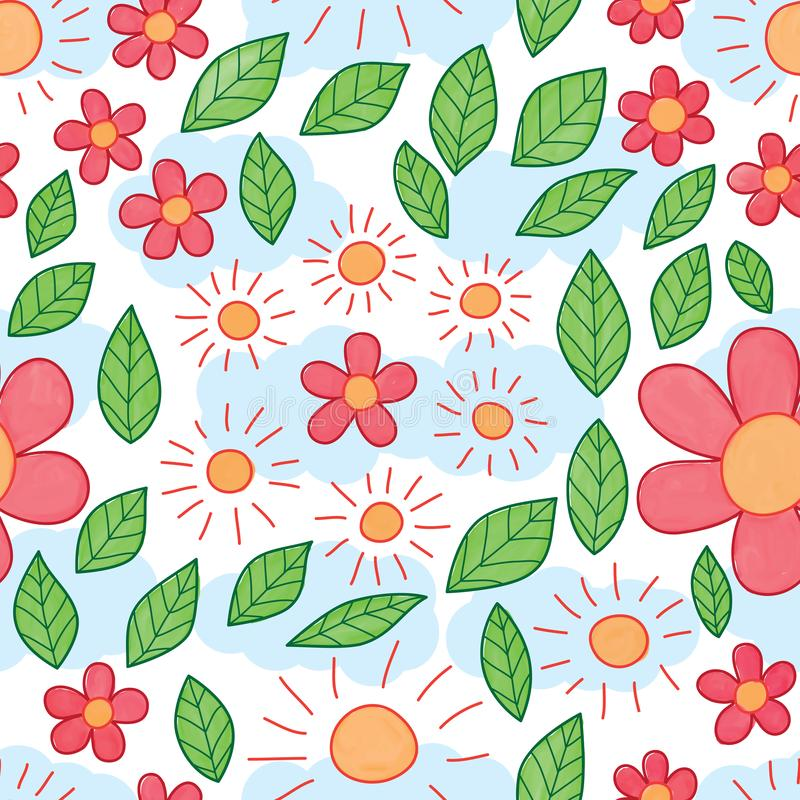 Sun flower leaf watercolor seamless pattern stock illustration