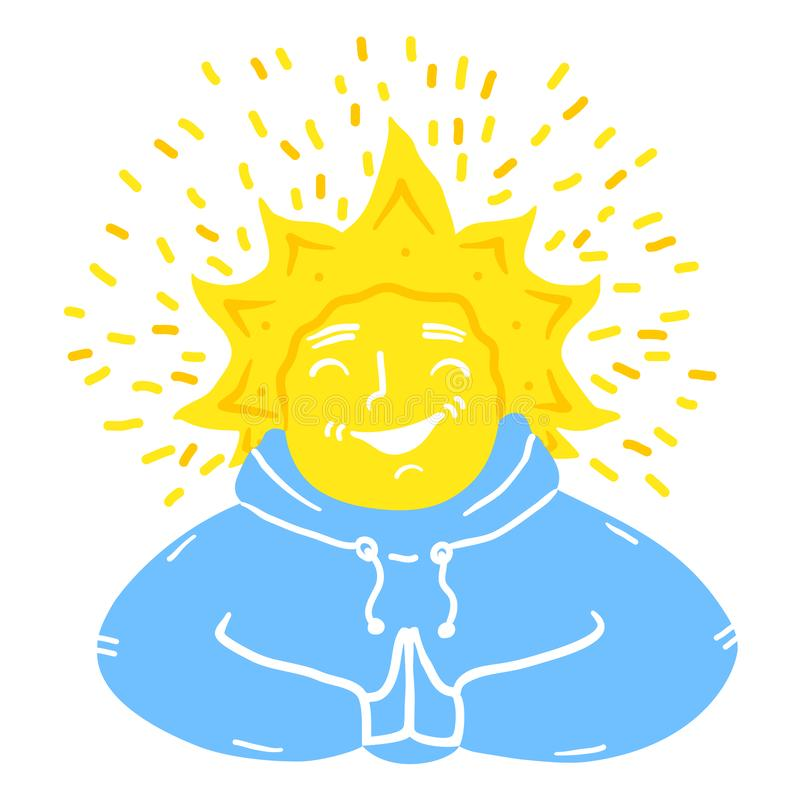 The sun in the form of a laughing guy royalty free stock photo