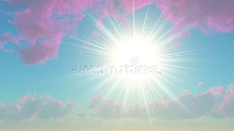 Sun fra le nubi viola illustrazione di stock