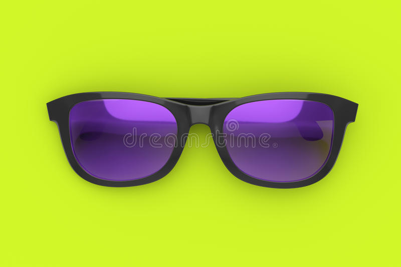 Sun glasses on color background. Purple and black sun glasses on vibrant green background. Color plastic sun protective spectacles. Summer holiday and beach stock illustration