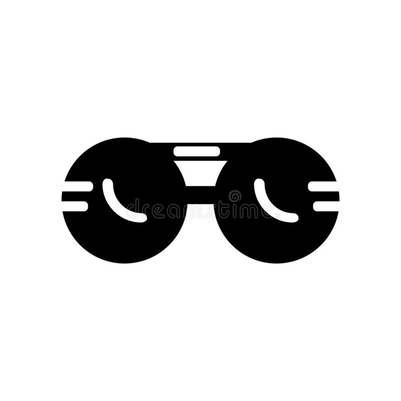 Sun glasses icon vector isolated on white background, Sun glasses sign , black fashion symbols. Sun glasses icon vector isolated on white background, Sun glasses stock illustration
