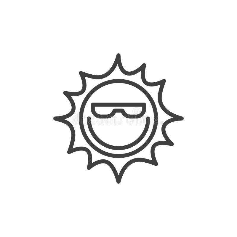 Sun with glasses line icon vector illustration