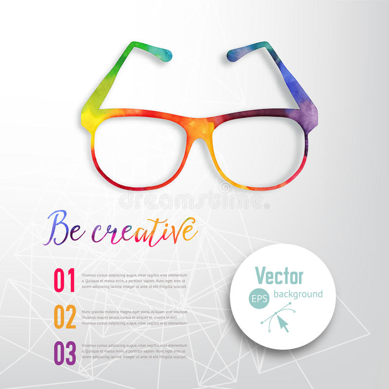 Sun glasses made n of colorful watercolor, vector retro cartoon glasses. Creative concept. ?reative vision, artistic sight. . Sun glasses made n of colorful royalty free illustration