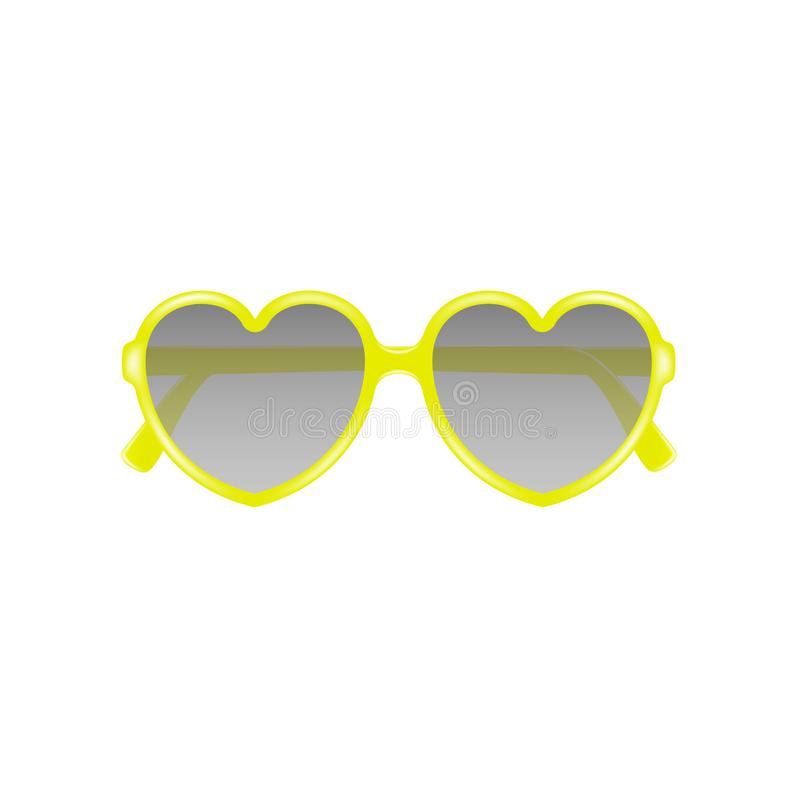 Sun glasses in shape of heart in yellow design royalty free illustration