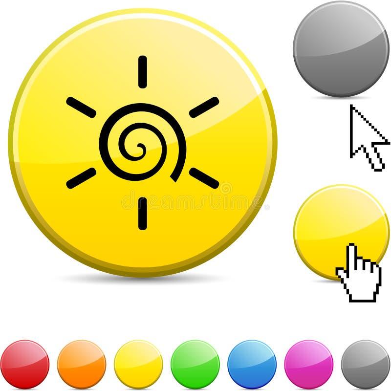 Sun glossy button. Sun glossy vibrant round icon vector illustration