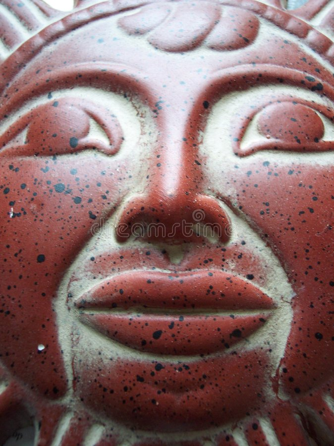 Download Sun god stock image. Image of decoration, lips, pottery - 197603