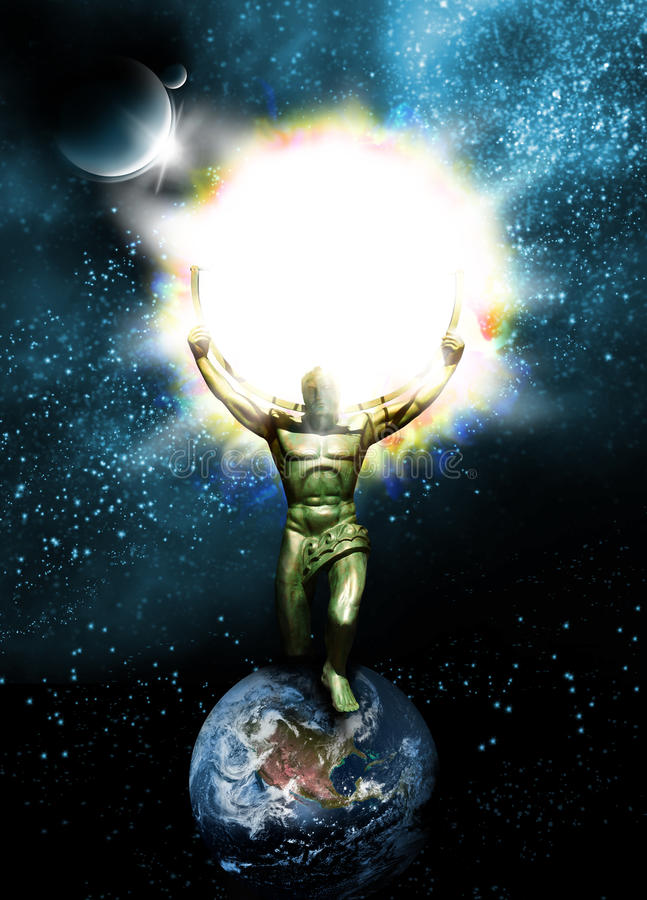 Sun God. An iron man holding the sun in the celestial skies as he walks on planet Earth, Concept for spiritual being such as God stock photos