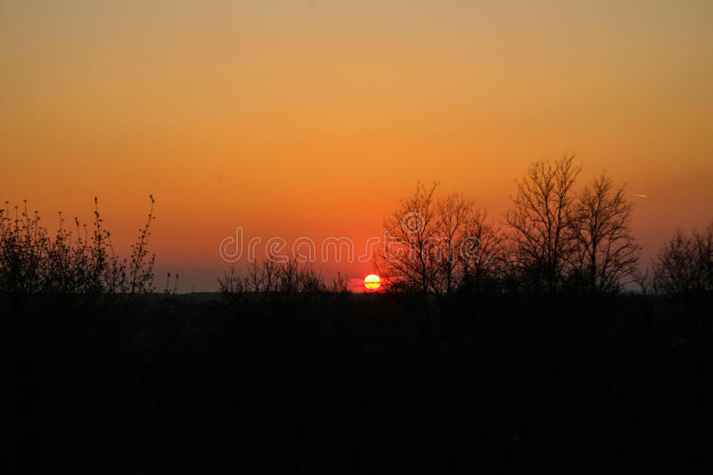 Sun goes down royalty free stock photo