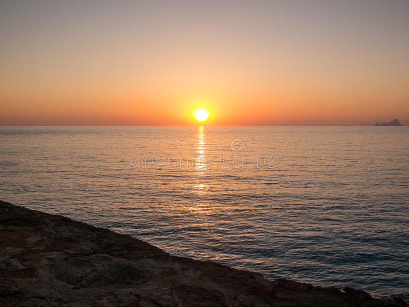 When the sun goes down. In Formentera, Spain royalty free stock photos