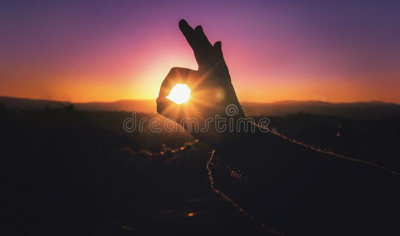 Sun goes down royalty free stock photography