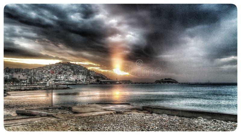 Sun Goes Down on Sea royalty free stock photo