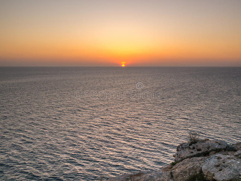 When the sun goes down. Sunset seen from Formentera island, Spain royalty free stock photos