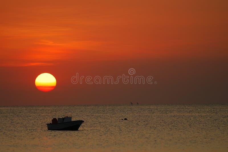 Sun goes down on Zanzibar royalty free stock images