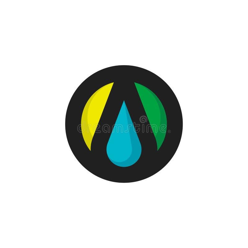 Sun, gota e folha Molde ou ícone elegante da marca do logotipo do vetor com elementos da natureza ilustração stock