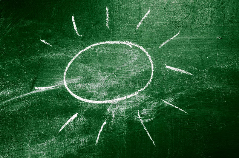 Sun On Chalk Board Stock Image