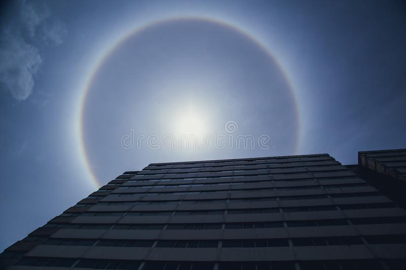 Sun Halo Natural optical phenomenon. Of sun light refraction from humidity in atmosphere stock photography