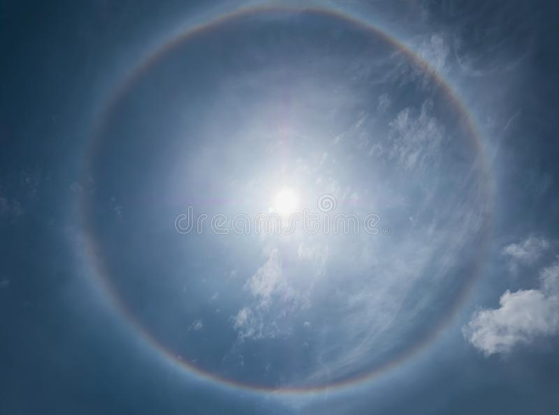 Sun halo phenomena. With blue sky day in Thailand stock photography