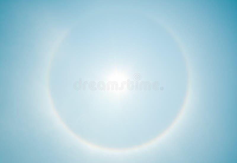 Sun halo phenomenon. Fantastic beautiful sun halo phenomenon stock images
