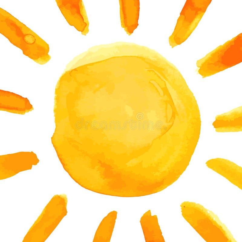 sun hand paint watercolor poster stock vector illustration of card rh dreamstime com Sun Clip Art Sun Clip Art