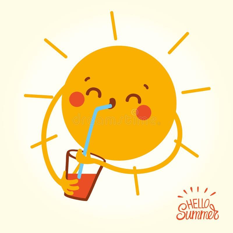 Sun heureux font face à des boissons un cocktail dans le jour d'été chaud illustration libre de droits