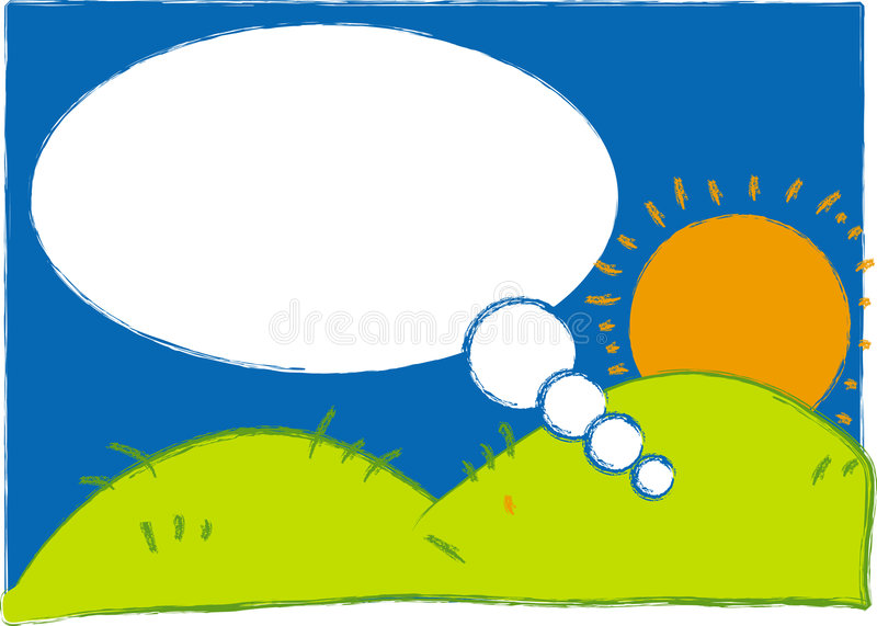Sun, Hill and Sky Illustration royalty free stock photos