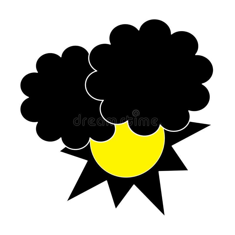 Sun hinten bewölkt schwarzes Schattenbild lizenzfreie abbildung