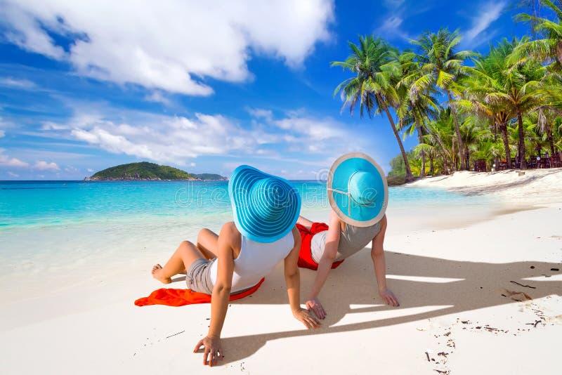 Sun holidays on the tropical beach stock photos