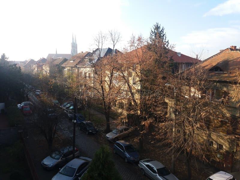 Sun of hope in Timisoara. Timisoara neighbourhood sunny royalty free stock photos