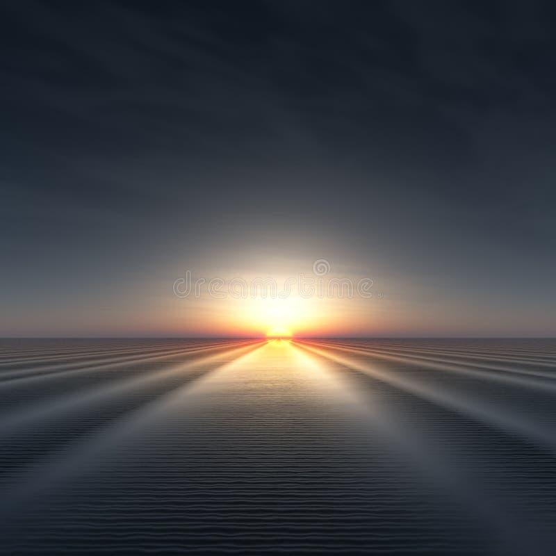 Sun on Horizon over rippled water. A background with sun on edge of horizon over rippled water 3d illustration royalty free illustration