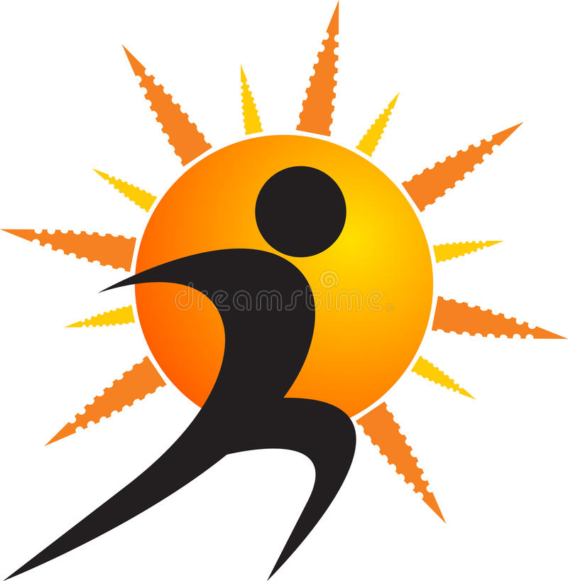 Sun humanlogo royaltyfri illustrationer